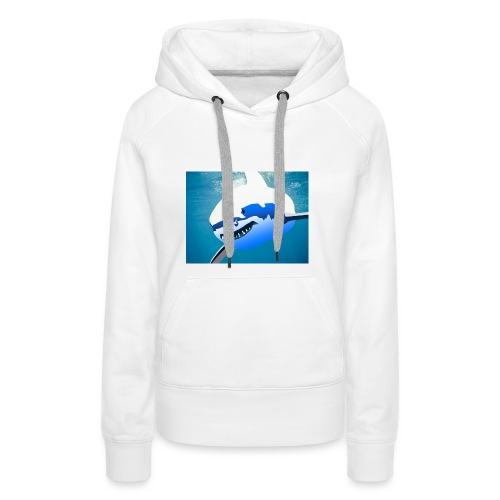 Super Lit Shark Drawing by Adam Tennant - Women's Premium Hoodie