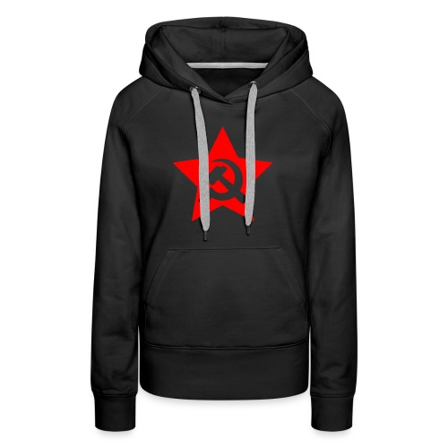 red and white star hammer and sickle - Women's Premium Hoodie