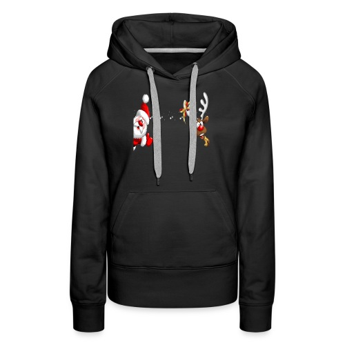 Santa Claus and Reindeer T-Shirt Merry Christmas - Women's Premium Hoodie