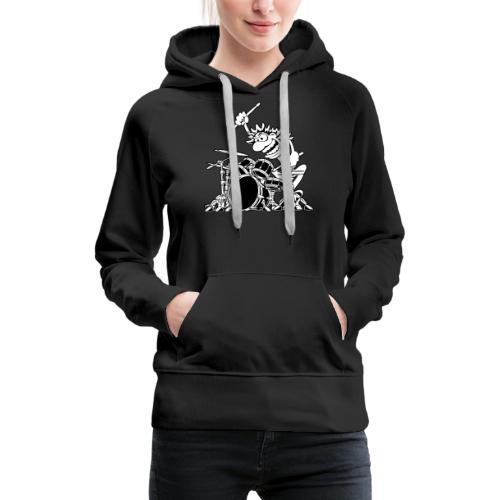 Crazy Drummer Cartoon Illustration - Women's Premium Hoodie