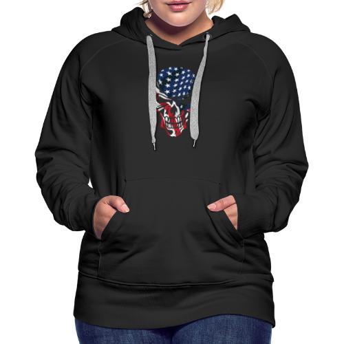 American Flag Skull - Women's Premium Hoodie