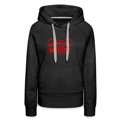TravelingWithTheMouse logo transparent RED - Women's Premium Hoodie