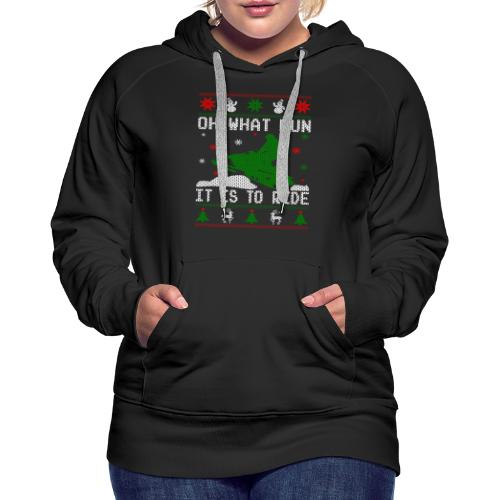 Oh What Fun Snowmobile Ugly Sweater style - Women's Premium Hoodie