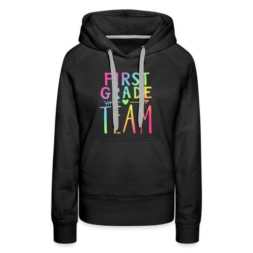 First Grade Team Neon Rainbow Teacher T-Shirts - Women's Premium Hoodie