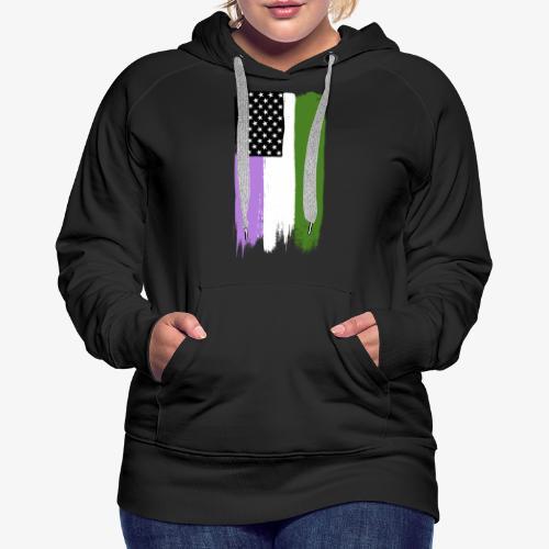 Genderqueer Pride Stars and Stripes - Women's Premium Hoodie