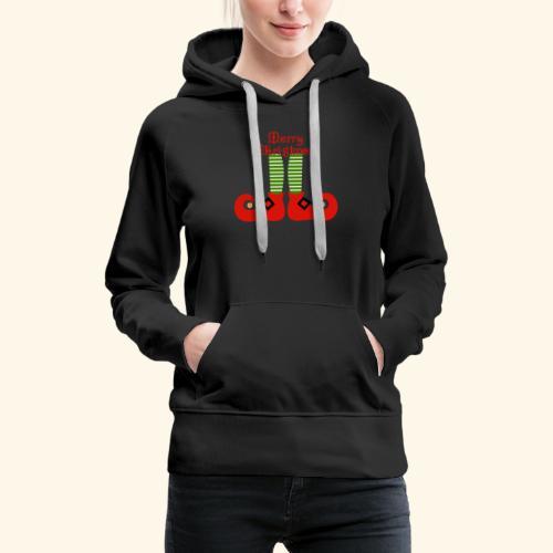 Elf Feet Merry Christmas Design - Women's Premium Hoodie