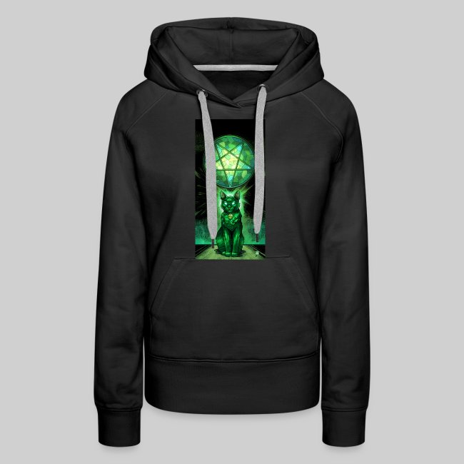 Green Satanic Cat and Pentagram Stained Glass
