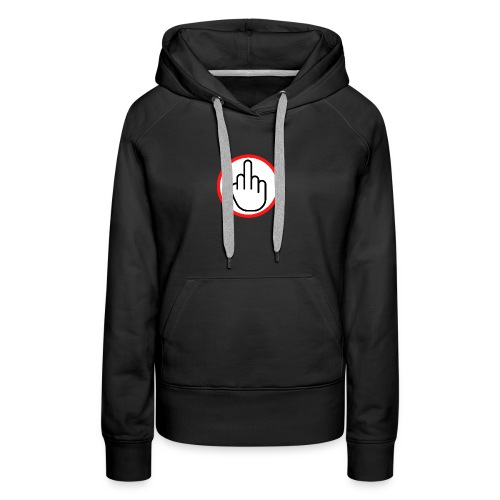 Middle Finger in a Red Circle - Women's Premium Hoodie