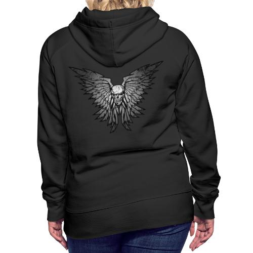 Classic Distressed Skull Wings Illustration - Women's Premium Hoodie