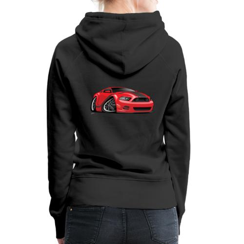 American Muscle Car Cartoon Illustration - Women's Premium Hoodie