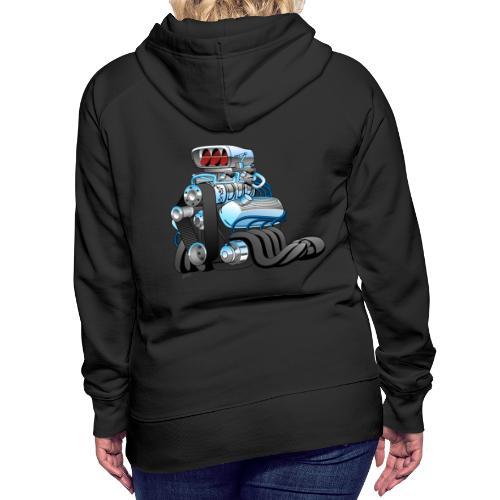 Hotrod Racing Car Engine Cartoon Illustration - Women's Premium Hoodie