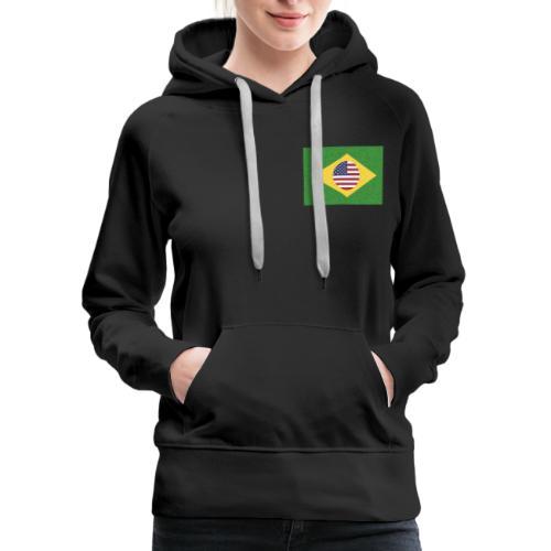 Brazil and USA Flag - Women's Premium Hoodie