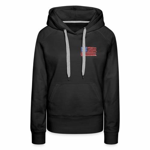 American Flag Brushed - Women's Premium Hoodie