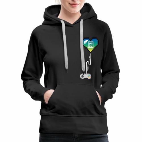 Supercombo Press Play Tshirt Green Heart - Women's Premium Hoodie