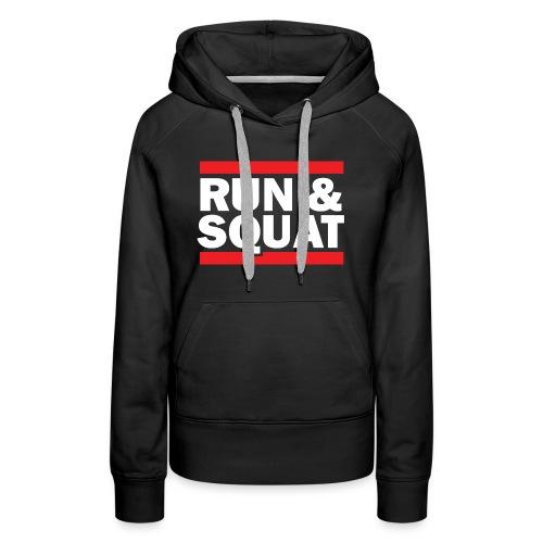 Run Squat White on Dark by Epic Greetings - Women's Premium Hoodie