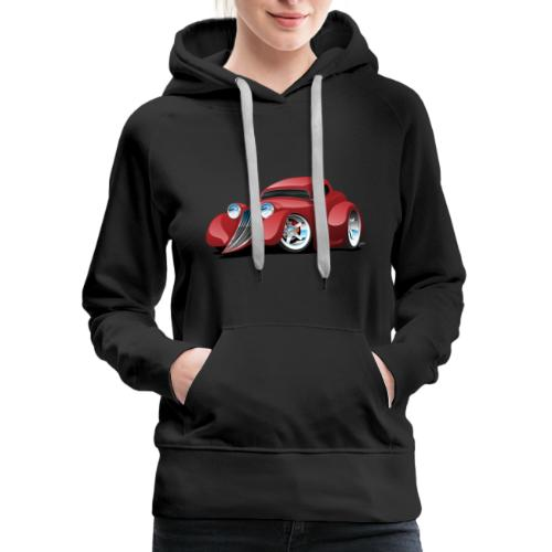 Red Hot Rod Restomod Custom Coupe Cartoon - Women's Premium Hoodie