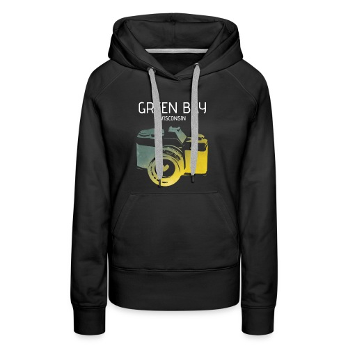 Green Bay camera with heart - Women's Premium Hoodie