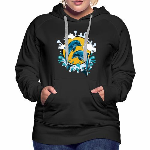 Dolphins jumping with sun - Women's Premium Hoodie