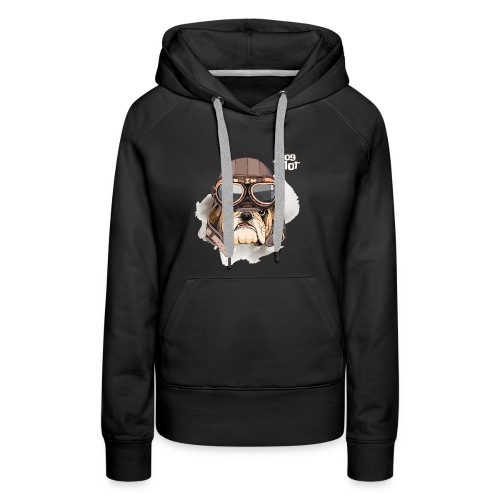 Portrait Bulldog Vintage Leather Aviator Helmet - Women's Premium Hoodie