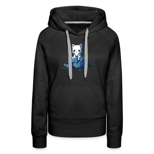 cat love knitting tshirt - Women's Premium Hoodie