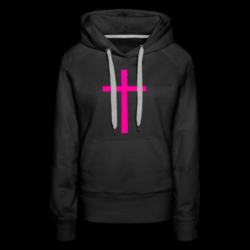 Big Pink Cross cross religion Jesus Christ ART Ave - Women's Premium Hoodie