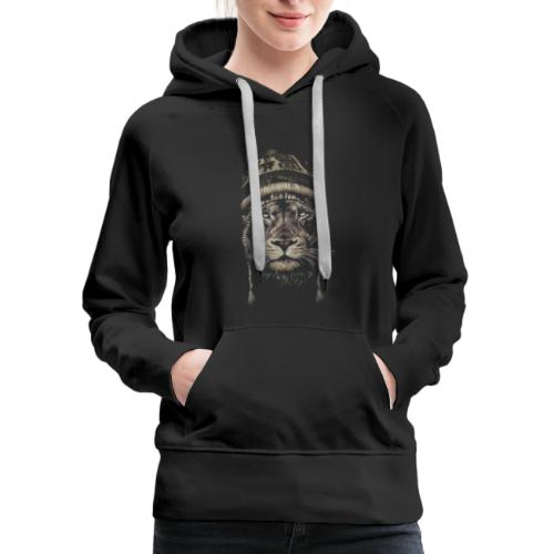 Lion white hat beanie king animal - Women's Premium Hoodie