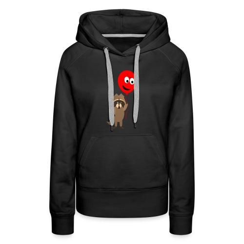Raccoon and Balloon Cartoon Shirt - Women's Premium Hoodie
