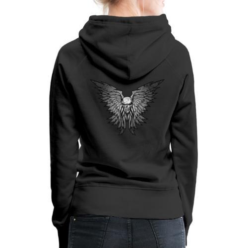 Classic Distressed Skull Wings Illustration - Women's Premium Hoodie