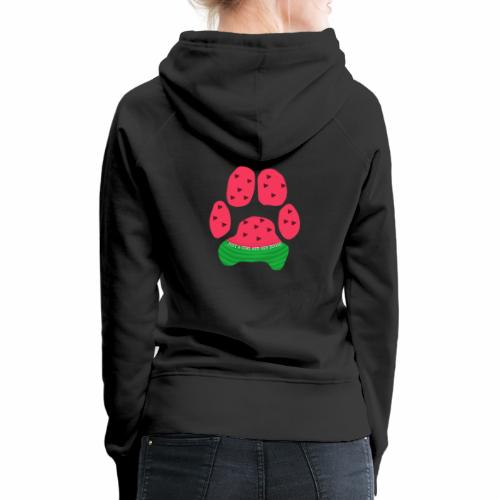 Just A Girl And Her Doggo Watermelon Paw Print - Women's Premium Hoodie