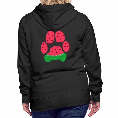 Just A Girl And Her Doggo Watermelon Paw Print - Women's Premium Hoodie