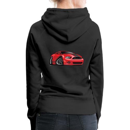 American Muscle Car Cartoon Illustration - Women's Premium Hoodie