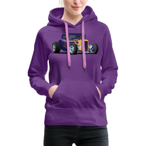 Vintage Hot Rod Car with Classic Flames - Women's Premium Hoodie