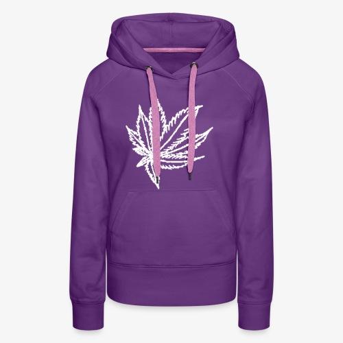 white leaf w/myceliaX.com logo - Women's Premium Hoodie