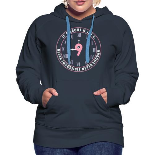 NINE Logo v2 2018 blue Outlines Red Numbers - Women's Premium Hoodie