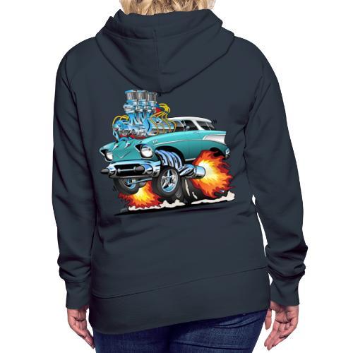 Classic Fifties Hot Rod Muscle Car Cartoon - Women's Premium Hoodie