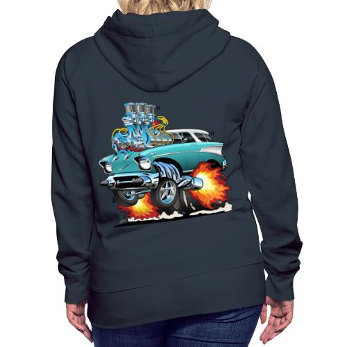 Classic Fifties Hot Rod Muscle Car Cartoon - Women's Premium Hoodie
