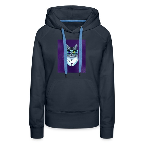 cool cat with glasses and headphones julio cesar - Women's Premium Hoodie