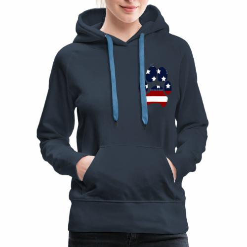Just A Girl And Her Doggo USA Paw Print - Women's Premium Hoodie