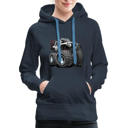 Off road 4x4 white jeeper cartoon - Women's Premium Hoodie