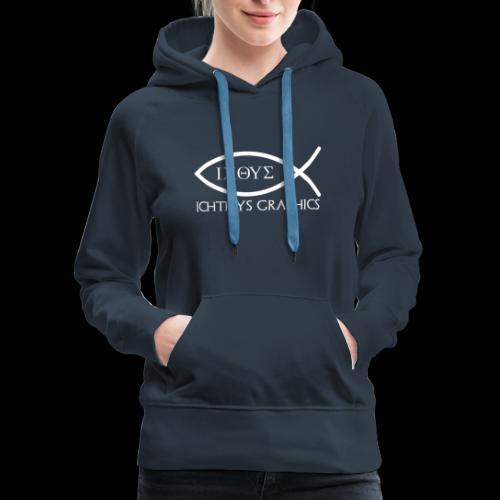 Ichthys Graphics Logo In White - Women's Premium Hoodie