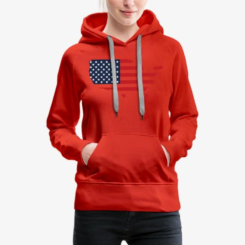 USA flag map red, white & blue - Women's Premium Hoodie