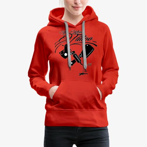 Black Skin Kitchen Tattoo Machine & Cleaver Logo - Women's Premium Hoodie