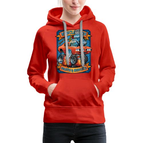 Classic Sixties Muscle Car Parts & Service Cartoon - Women's Premium Hoodie