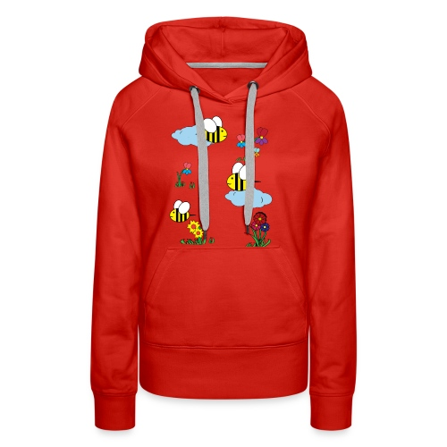 Cute bees and flowers kids, baby colorful design - Women's Premium Hoodie
