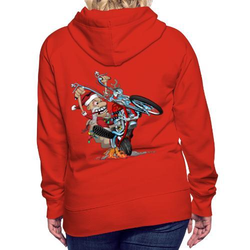 Biker Santa on a chopper cartoon illustration - Women's Premium Hoodie