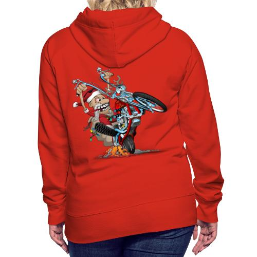 Biker Santa on a chopper cartoon illustration - Women's Premium Hoodie