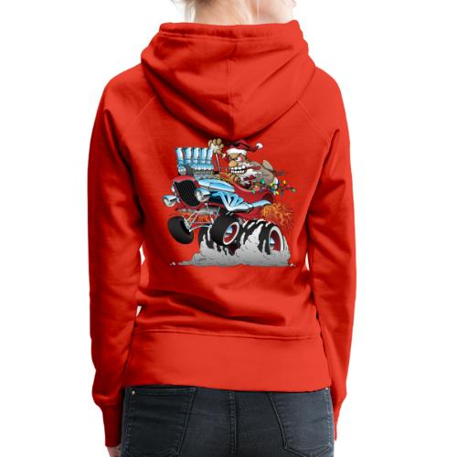 Hot Rod Santa Christmas Cartoon - Women's Premium Hoodie