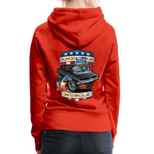 American Muscle Patriotic Muscle Car Cartoon - Women's Premium Hoodie