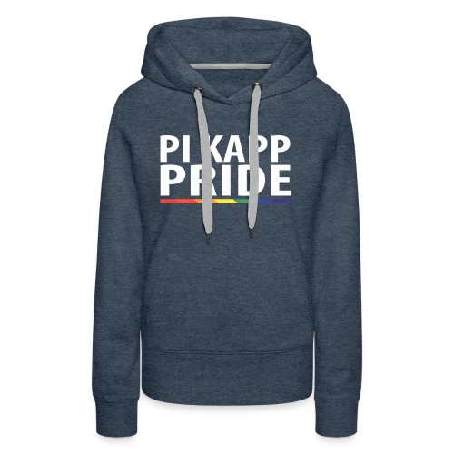 PKPride Stacked Design w Rainbow Stripe White Tex - Women's Premium Hoodie