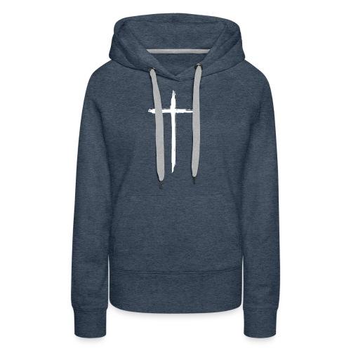 White Cross for Back of Shirt - Women's Premium Hoodie